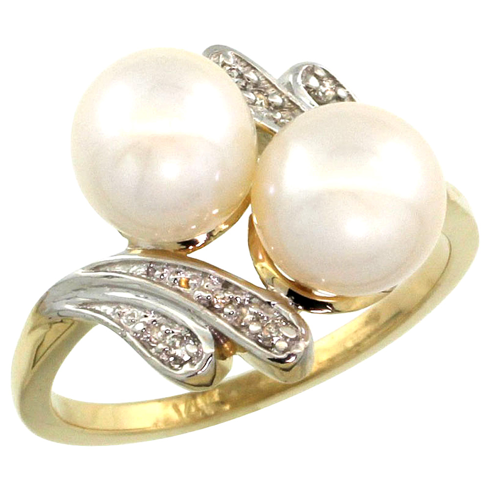 14k Yellow Gold Diamond 7mm Round White Pearl Bypass Ring 0.05ct Round Brilliant cut 9/16 inch, size 5-10