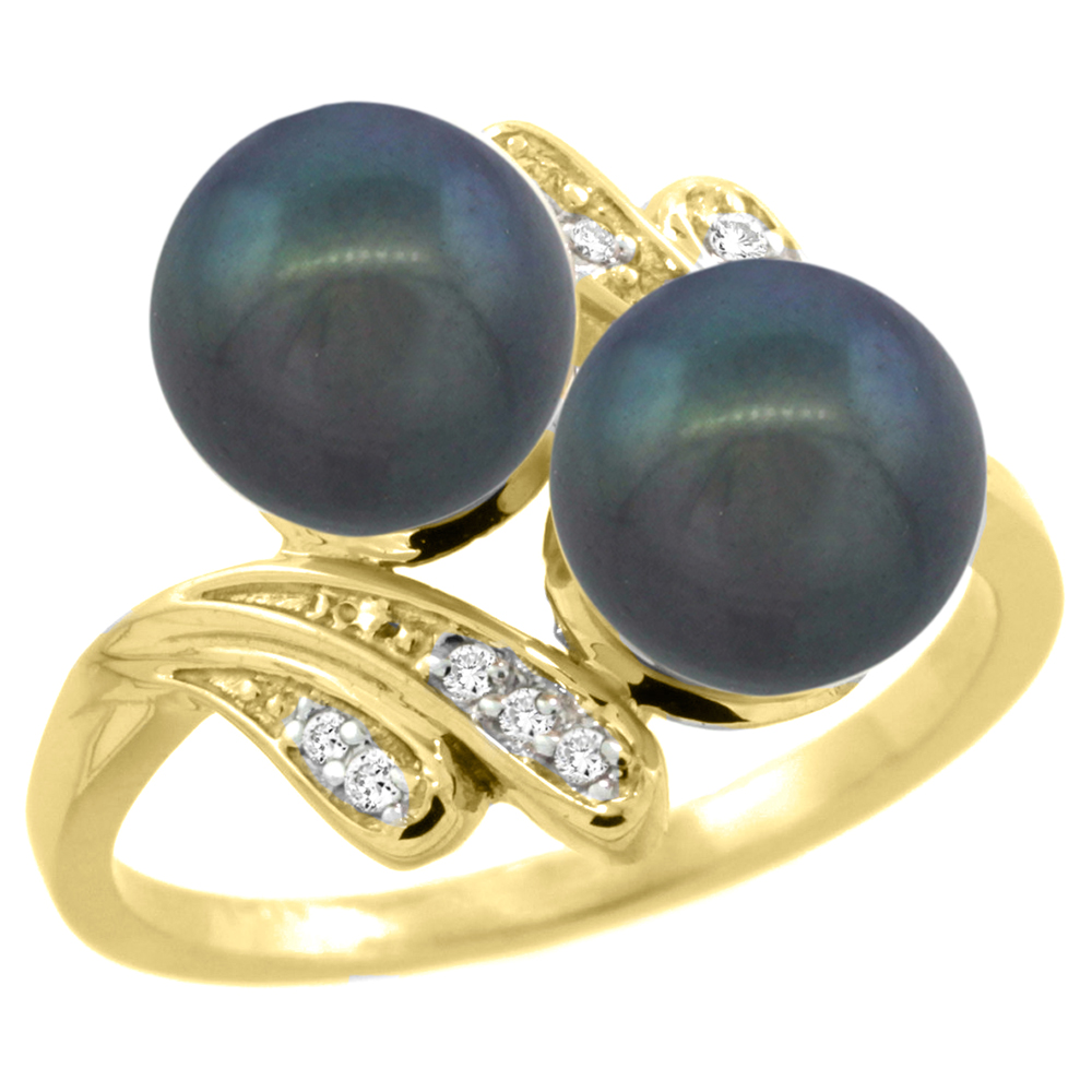 14k Yellow Gold Diamond 7mm Round Black Pearl Bypass Ring 0.05ct Round Brilliant cut 9/16 inch, size 5-10