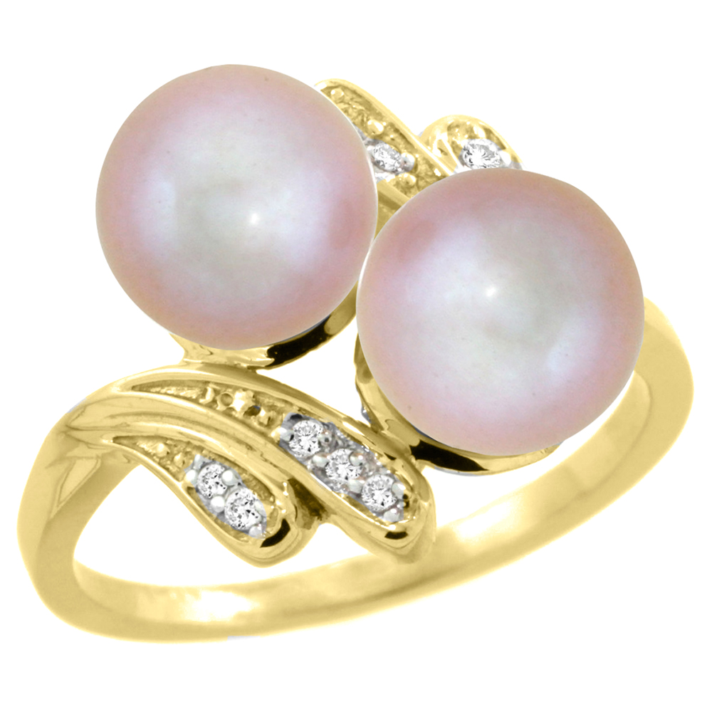 14k Yellow Gold Diamond 7mm Round Pink Pearl Bypass Ring 0.05 ct Round Brilliant cut 9/16 inch, size 5-10