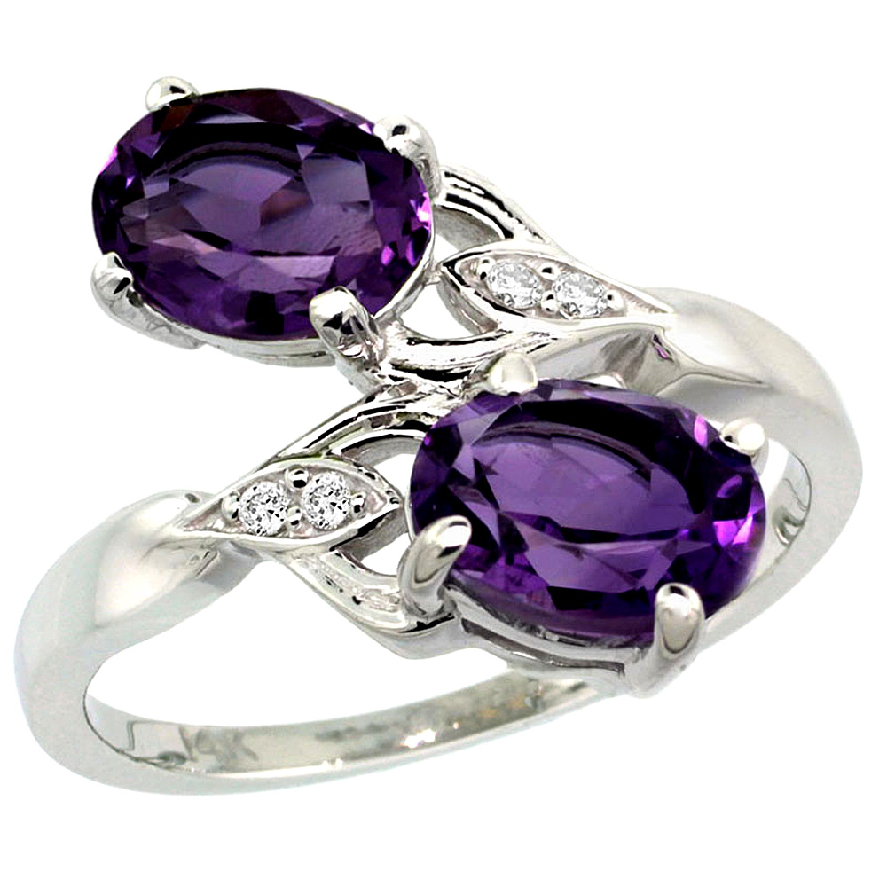 10K White Gold Diamond Natural Amethyst 2-stone Ring Oval 8x6mm, sizes 5 - 10