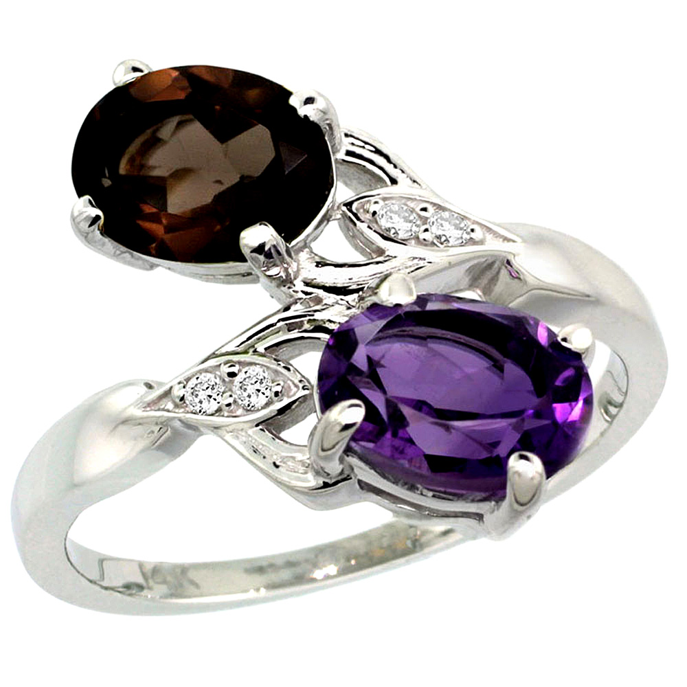 10K White Gold Diamond Natural Amethyst & Smoky Topaz 2-stone Ring Oval 8x6mm, sizes 5 - 10