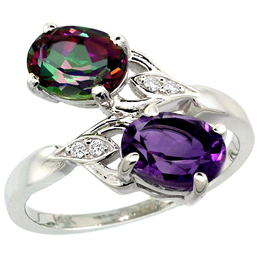 10K White Gold Diamond Natural Amethyst & Mystic Topaz 2-stone Ring Oval 8x6mm, sizes 5 - 10