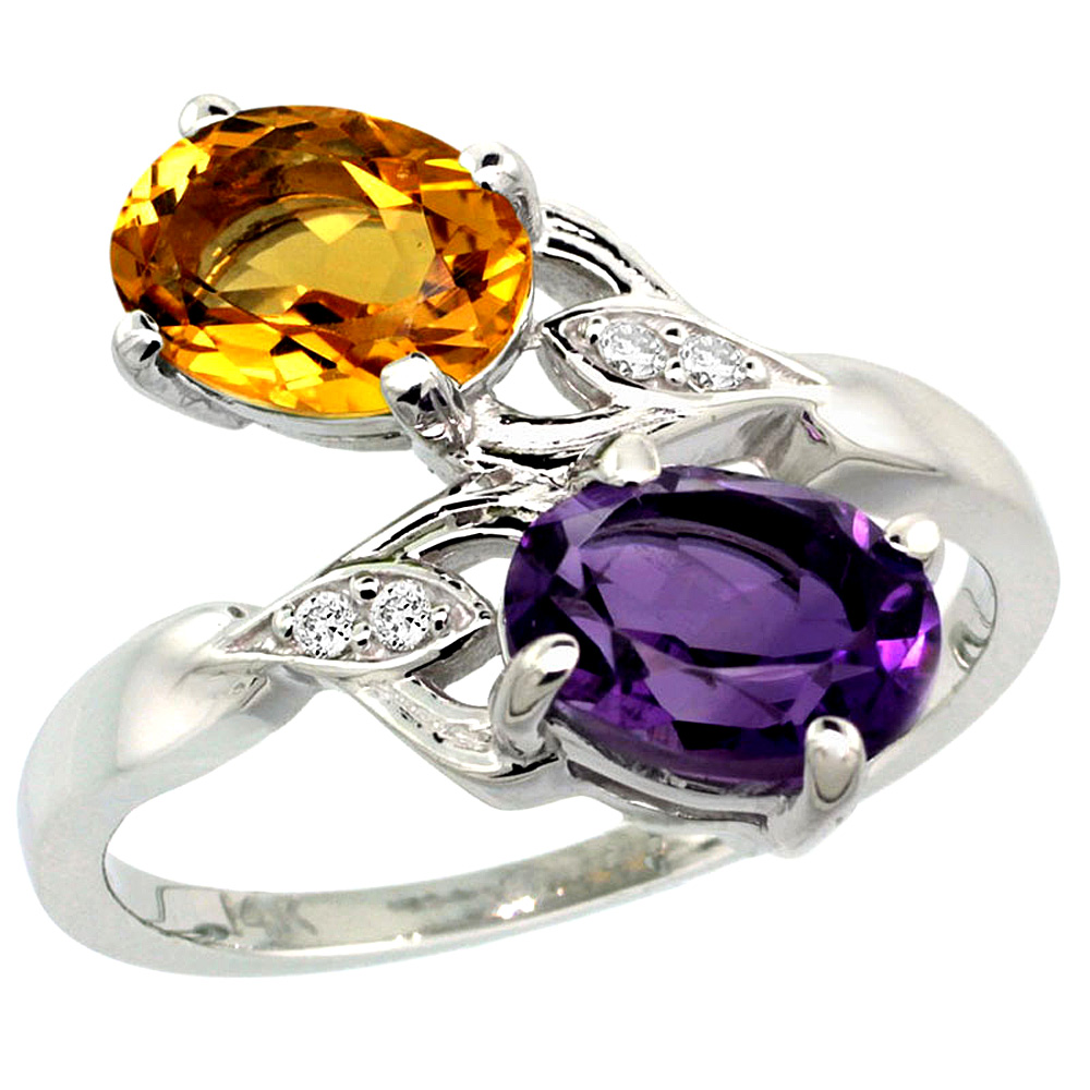 10K White Gold Diamond Natural Amethyst & Citrine 2-stone Ring Oval 8x6mm, sizes 5 - 10
