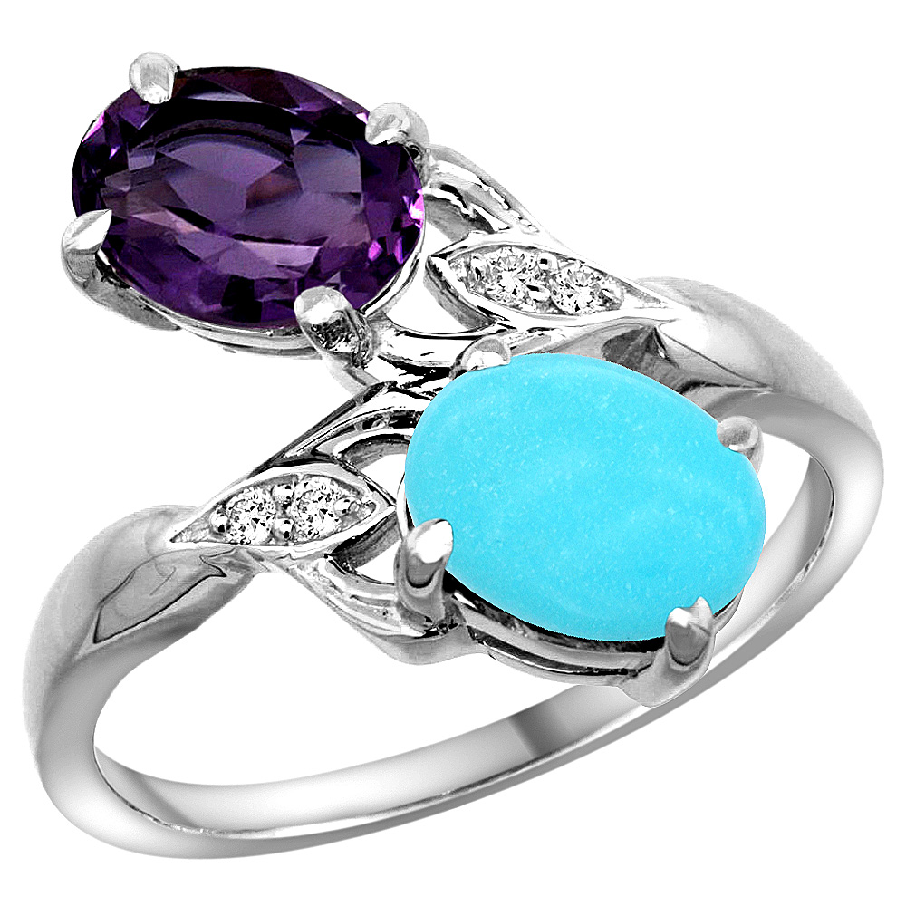 10K White Gold Diamond Natural Amethyst & Turquoise 2-stone Ring Oval 8x6mm, sizes 5 - 10