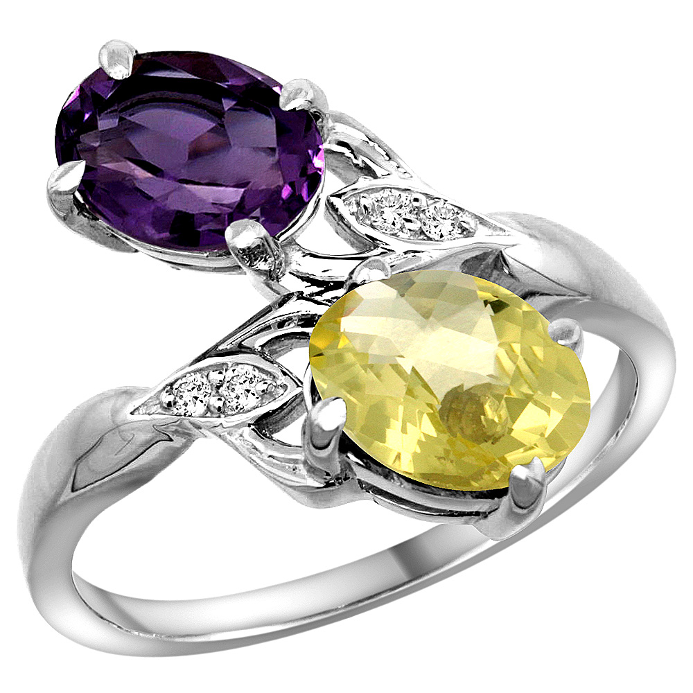 10K White Gold Diamond Natural Amethyst & Lemon Quartz 2-stone Ring Oval 8x6mm, sizes 5 - 10