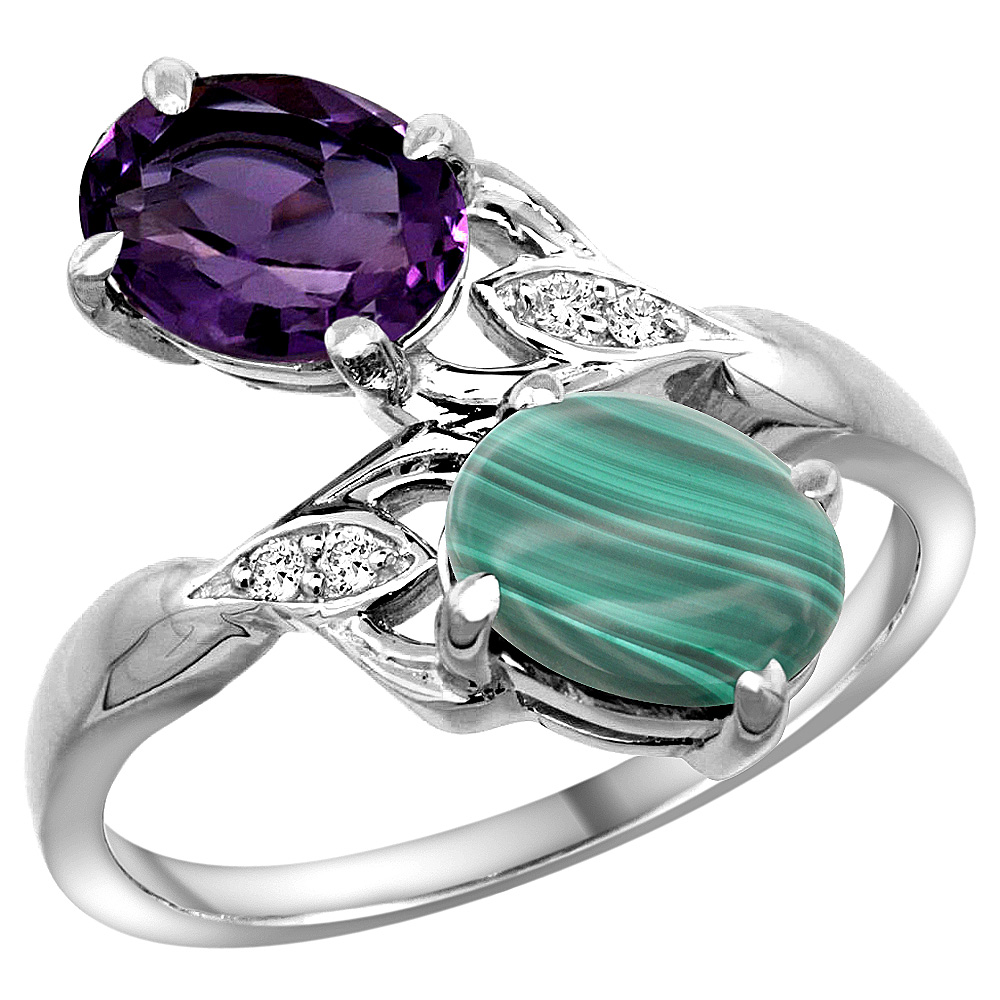 10K White Gold Diamond Natural Amethyst & Malachite 2-stone Ring Oval 8x6mm, sizes 5 - 10