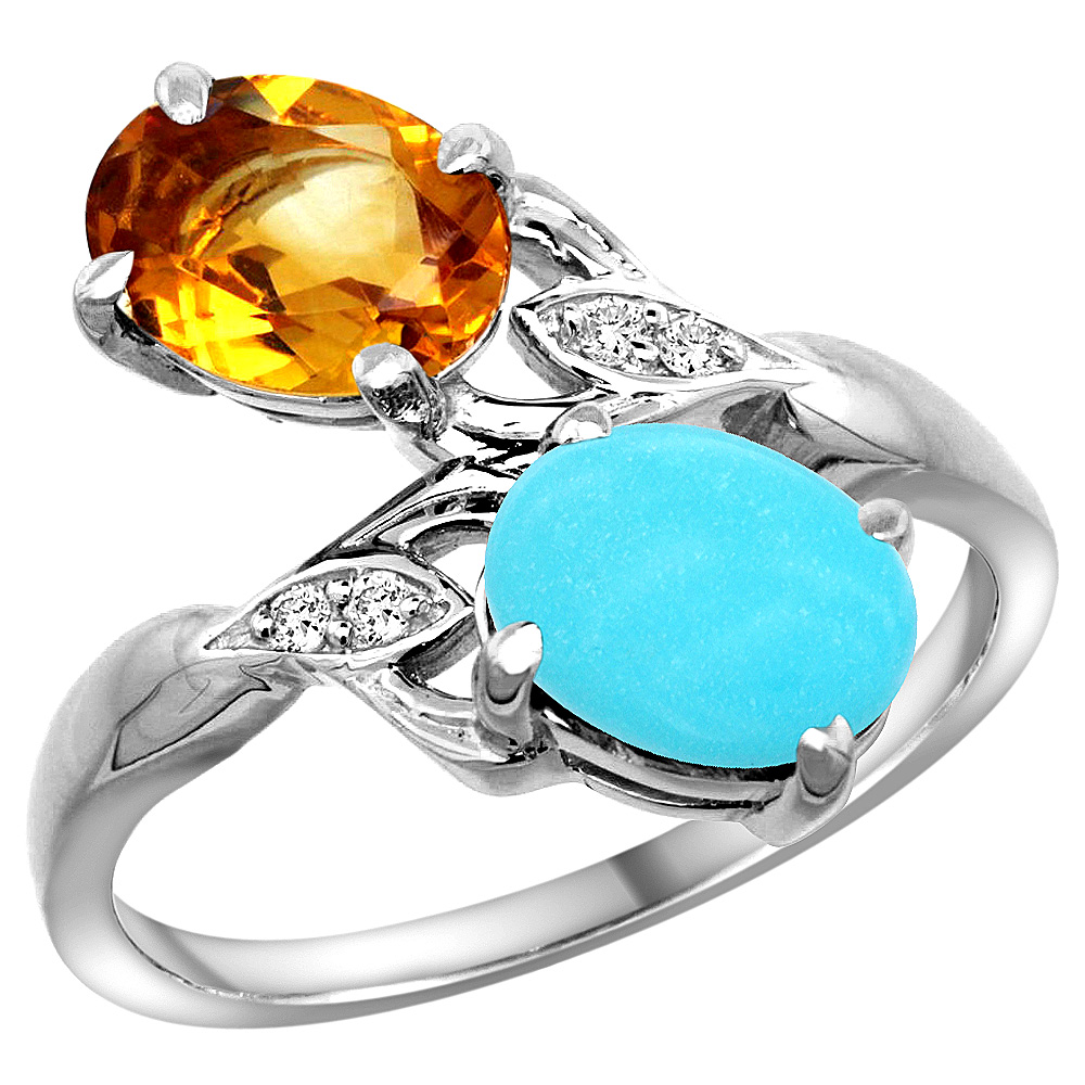 10K White Gold Diamond Natural Citrine & Turquoise 2-stone Ring Oval 8x6mm, sizes 5 - 10
