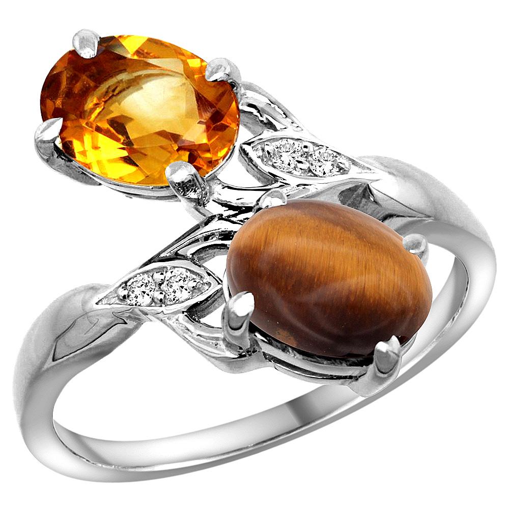 10K White Gold Diamond Natural Citrine & Tiger Eye 2-stone Ring Oval 8x6mm, sizes 5 - 10