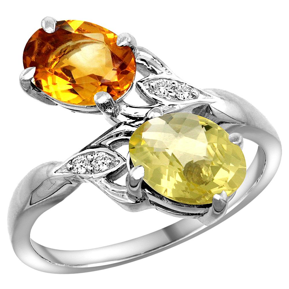 10K White Gold Diamond Natural Citrine & Lemon Quartz 2-stone Ring Oval 8x6mm, sizes 5 - 10