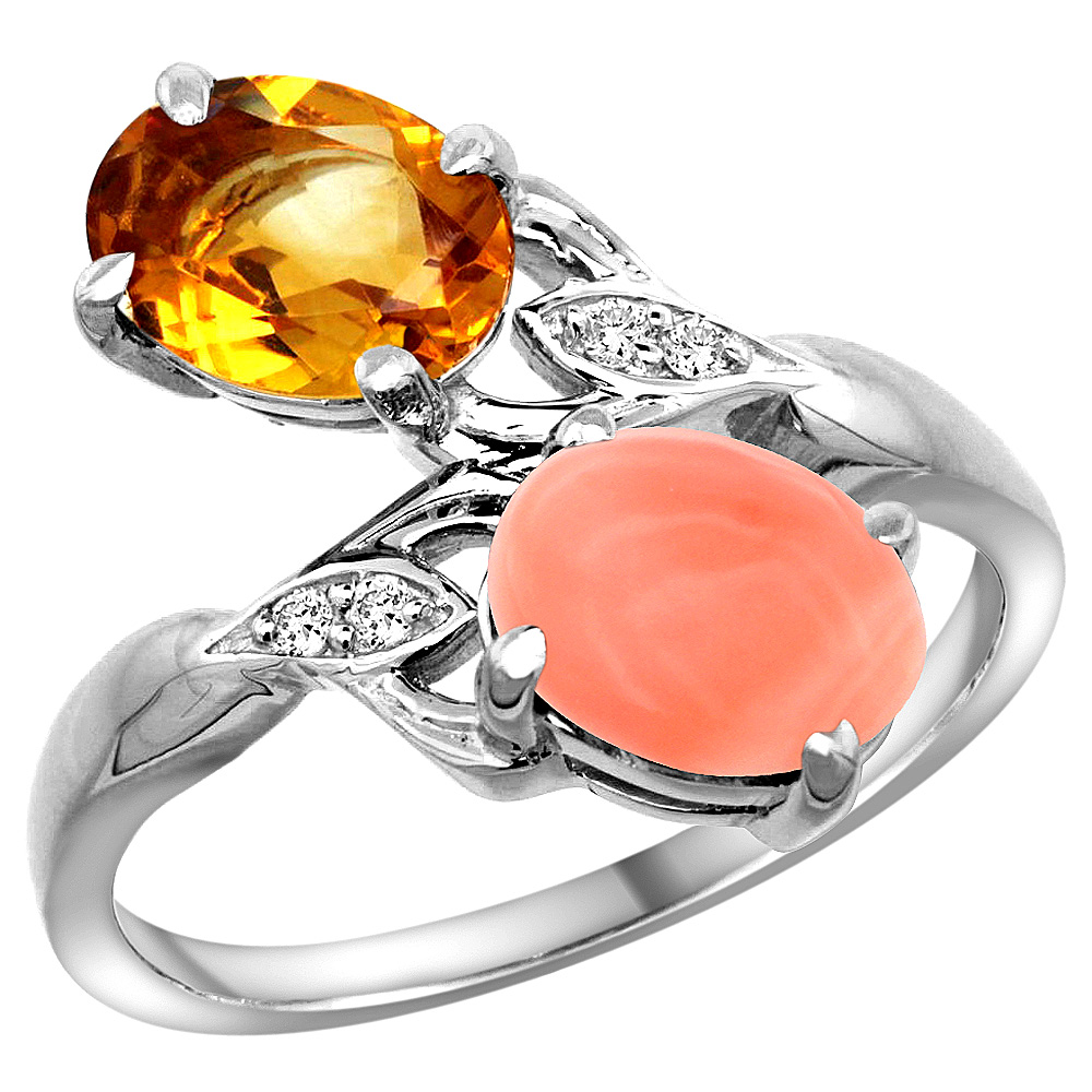 10K White Gold Diamond Natural Citrine & Coral 2-stone Ring Oval 8x6mm, sizes 5 - 10