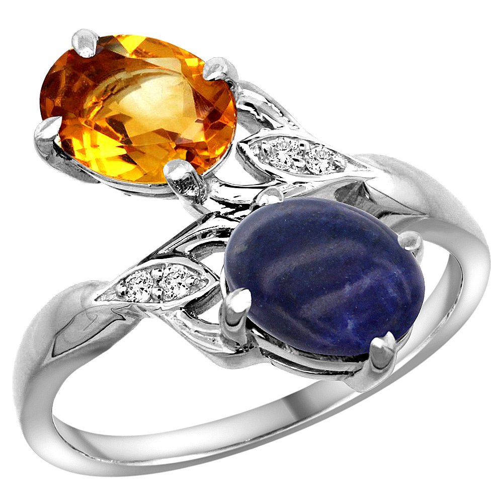 10K White Gold Diamond Natural Citrine & Lapis 2-stone Ring Oval 8x6mm, sizes 5 - 10