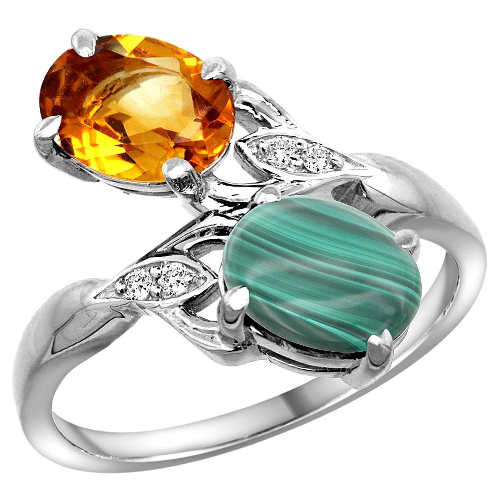 10K White Gold Diamond Natural Citrine & Malachite 2-stone Ring Oval 8x6mm, sizes 5 - 10