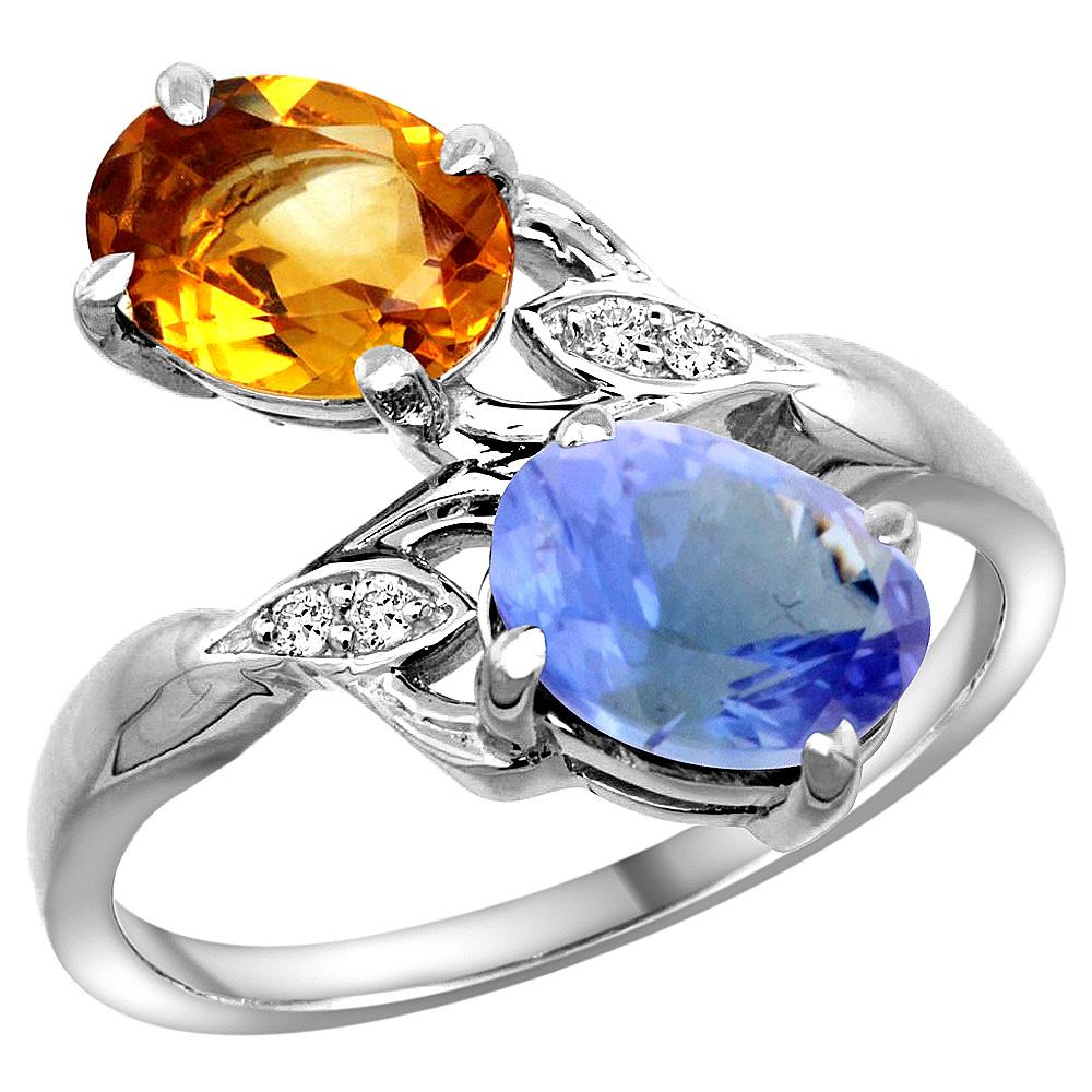 10K White Gold Diamond Natural Citrine & Tanzanite 2-stone Ring Oval 8x6mm, sizes 5 - 10