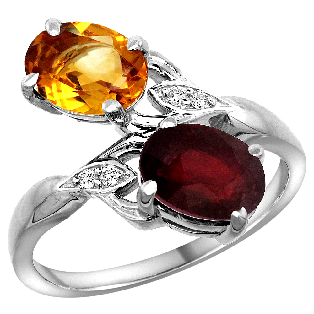 10K White Gold Diamond Natural Citrine & Quality Ruby 2-stone Mothers Ring Oval 8x6mm, size 5 - 10