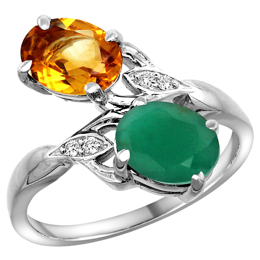 10K White Gold Diamond Natural Citrine & Quality Emerald 2-stone Mothers Ring Oval 8x6mm, size 5 - 10
