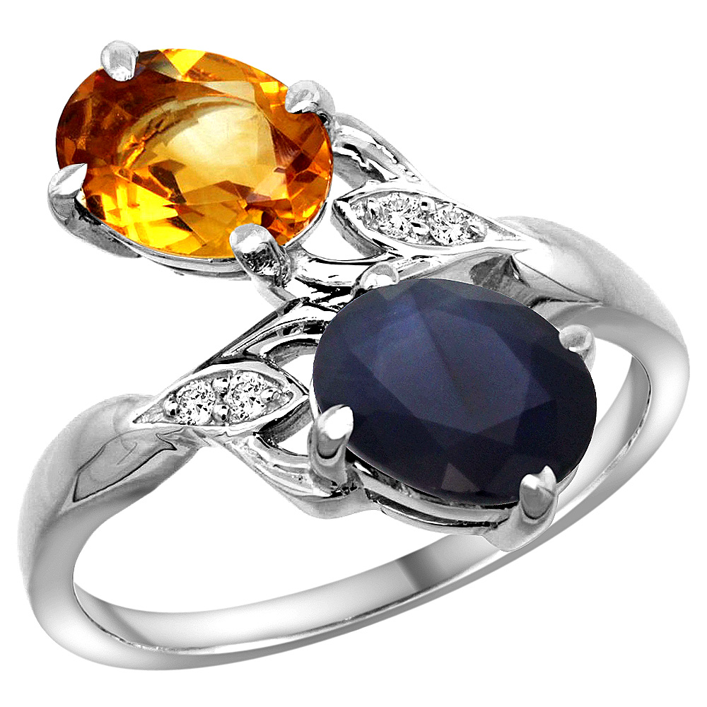 10K White Gold Diamond Natural Citrine & Quality Blue Sapphire 2-stone Mothers Ring Oval 8x6mm, sz 5 - 10