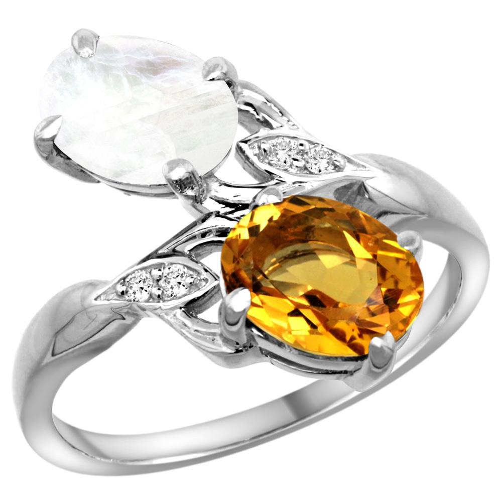 10K White Gold Diamond Natural Citrine & Rainbow Moonstone 2-stone Ring Oval 8x6mm, sizes 5 - 10