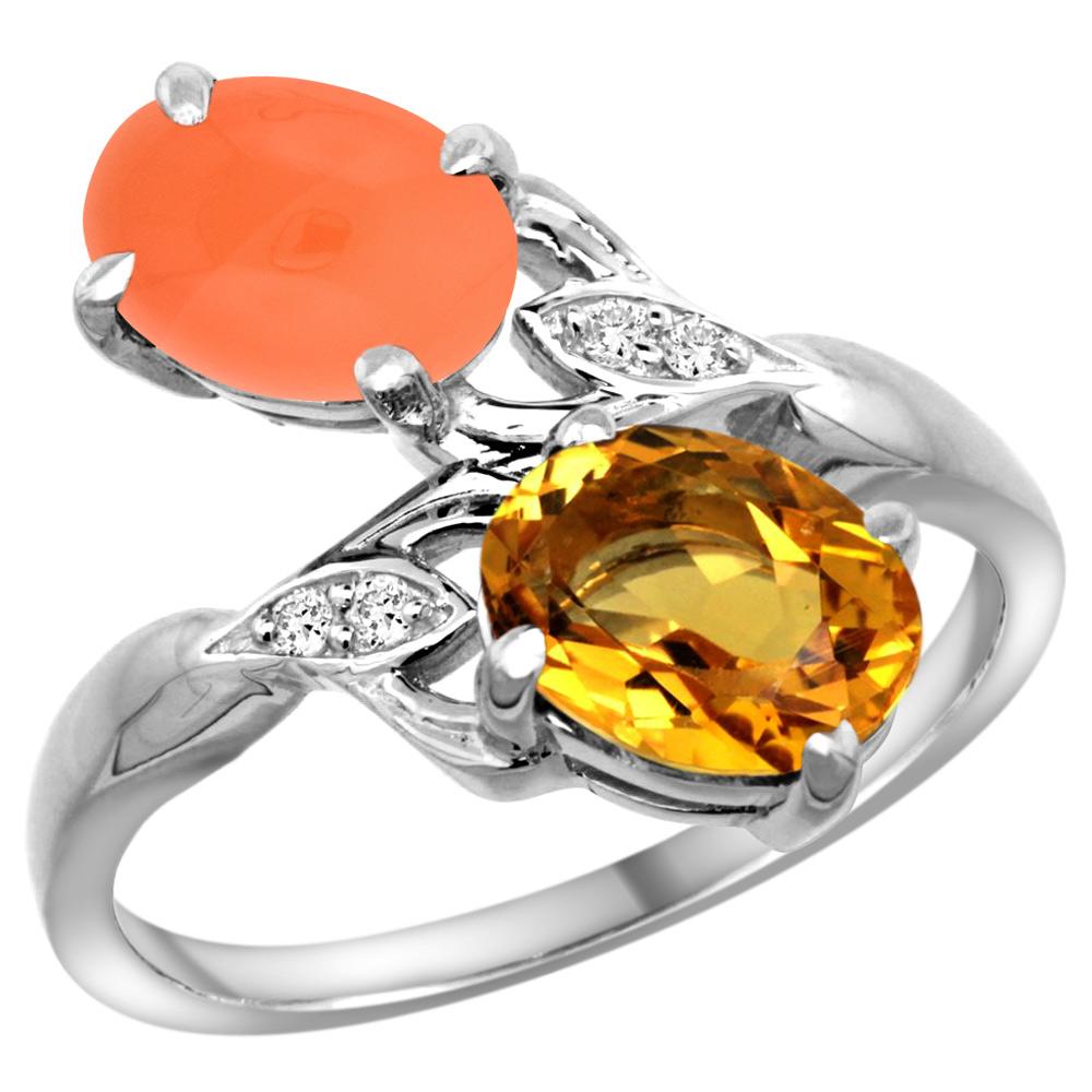 10K White Gold Diamond Natural Citrine & Orange Moonstone 2-stone Ring Oval 8x6mm, sizes 5 - 10