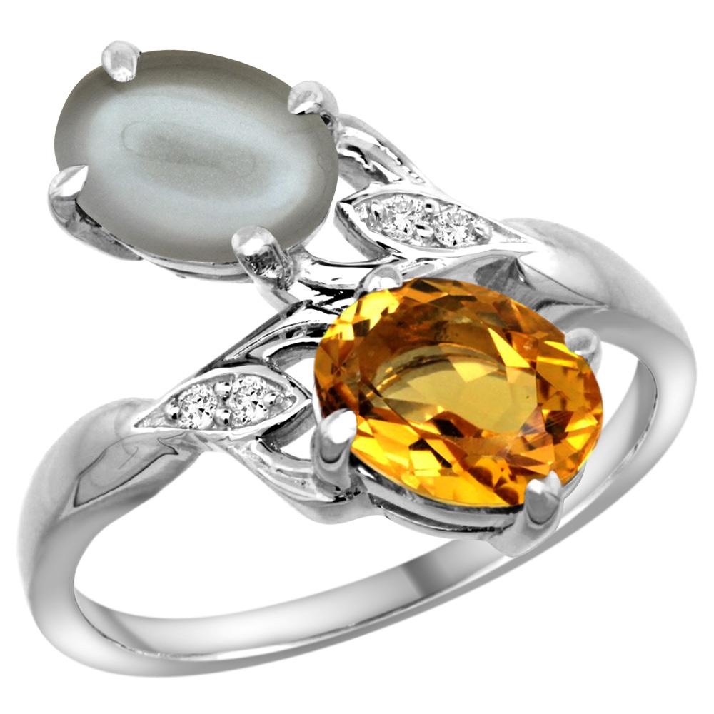 10K White Gold Diamond Natural Citrine & Gray Moonstone 2-stone Ring Oval 8x6mm, sizes 5 - 10