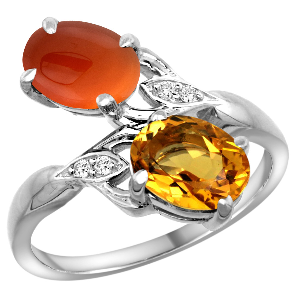 10K White Gold Diamond Natural Citrine & Brown Agate 2-stone Ring Oval 8x6mm, sizes 5 - 10