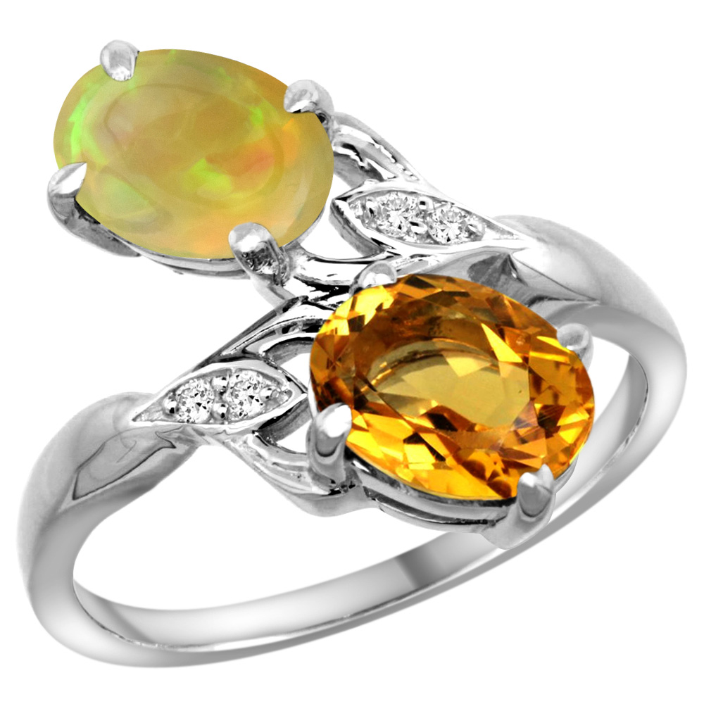 10K White Gold Diamond Natural Citrine & Ethiopian Opal 2-stone Mothers Ring Oval 8x6mm, size 5 - 10