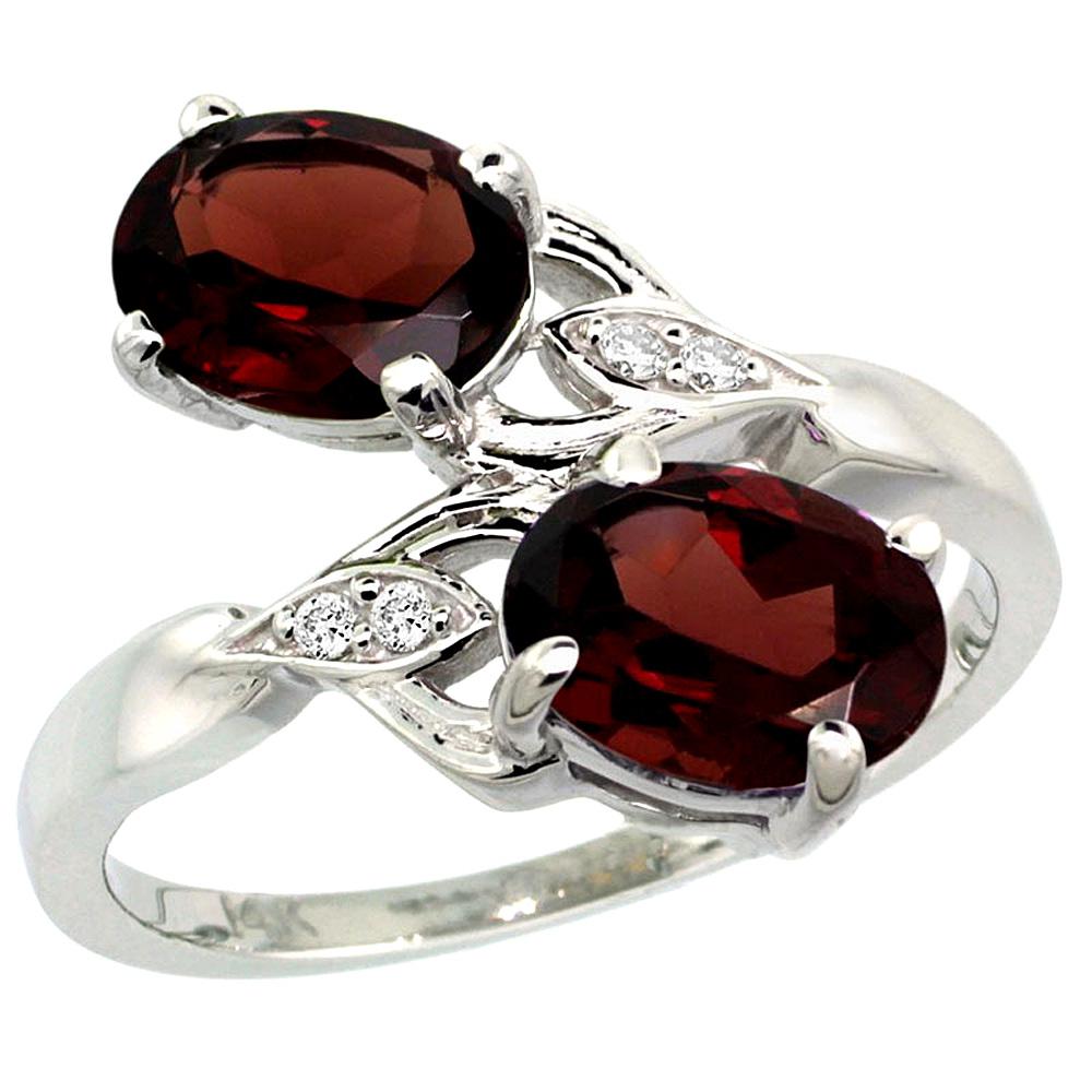 10K White Gold Diamond Natural Garnet 2-stone Ring Oval 8x6mm, sizes 5 - 10