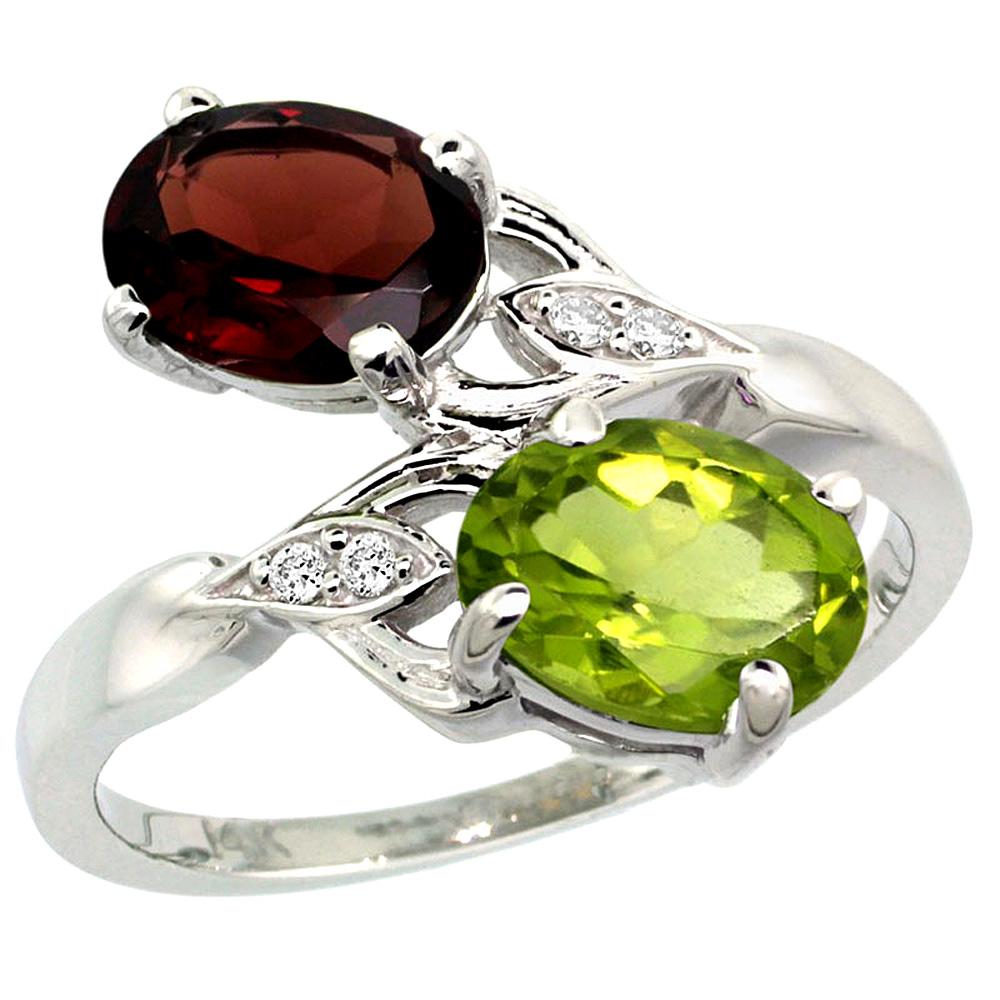10K White Gold Diamond Natural Garnet & Peridot 2-stone Ring Oval 8x6mm, sizes 5 - 10