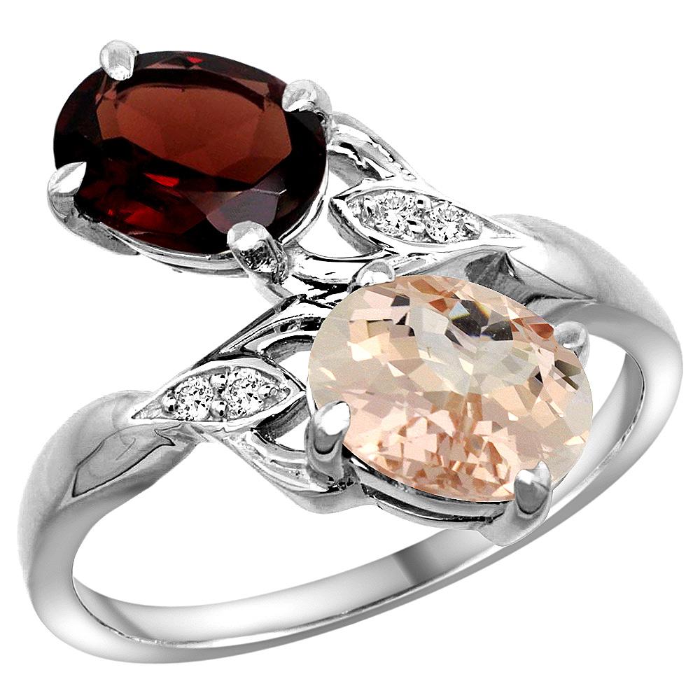 10K White Gold Diamond Natural Garnet & Morganite 2-stone Ring Oval 8x6mm, sizes 5 - 10