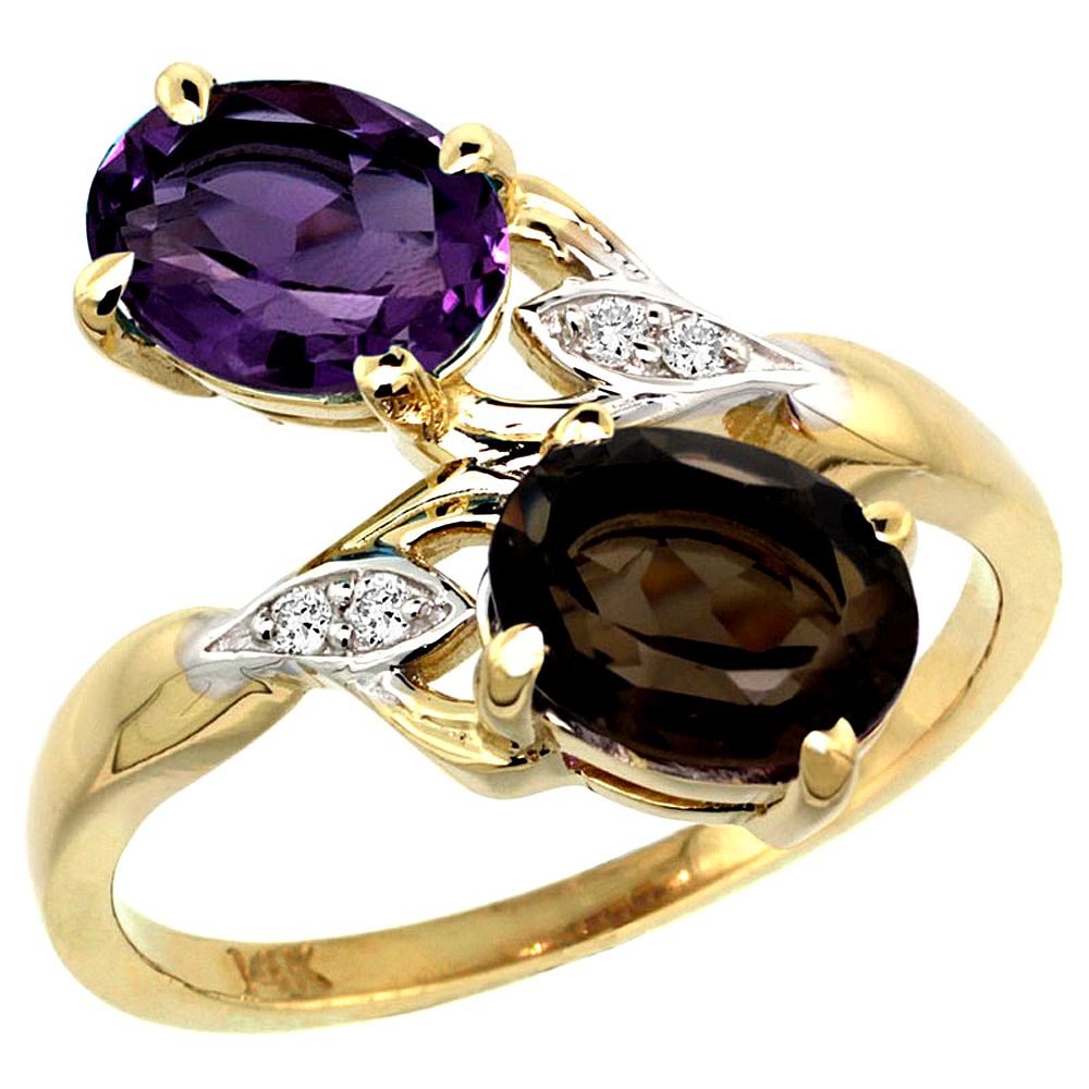 10K Yellow Gold Diamond Natural Amethyst & Smoky Topaz 2-stone Ring Oval 8x6mm, sizes 5 - 10