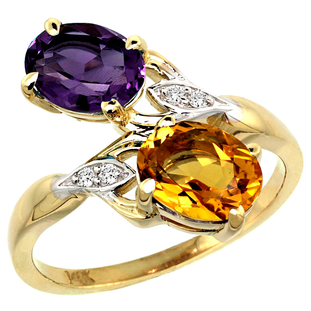 10K Yellow Gold Diamond Natural Amethyst & Citrine 2-stone Ring Oval 8x6mm, sizes 5 - 10