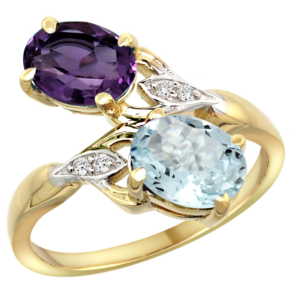 10K Yellow Gold Diamond Natural Amethyst & Aquamarine 2-stone Ring Oval 8x6mm, sizes 5 - 10