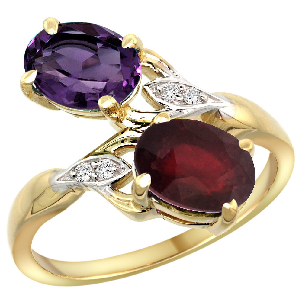 10K Yellow Gold Diamond Natural Amethyst & Enhanced Genuine Ruby 2-stone Ring Oval 8x6mm, sizes 5 - 10