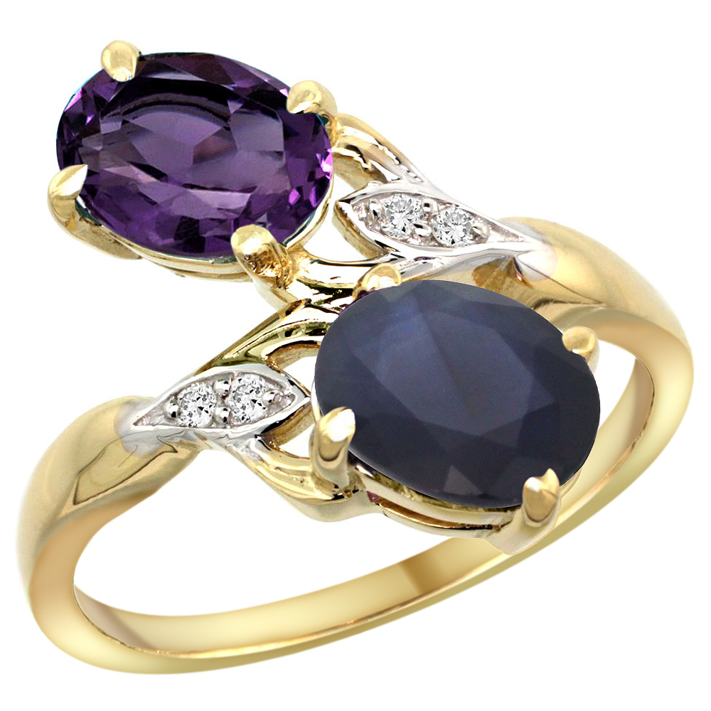 10K Yellow Gold Diamond Natural Amethyst & Blue Sapphire 2-stone Ring Oval 8x6mm, sizes 5 - 10