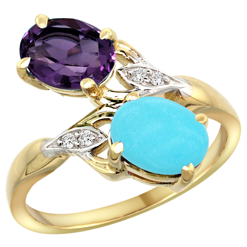 10K Yellow Gold Diamond Natural Amethyst & Turquoise 2-stone Ring Oval 8x6mm, sizes 5 - 10