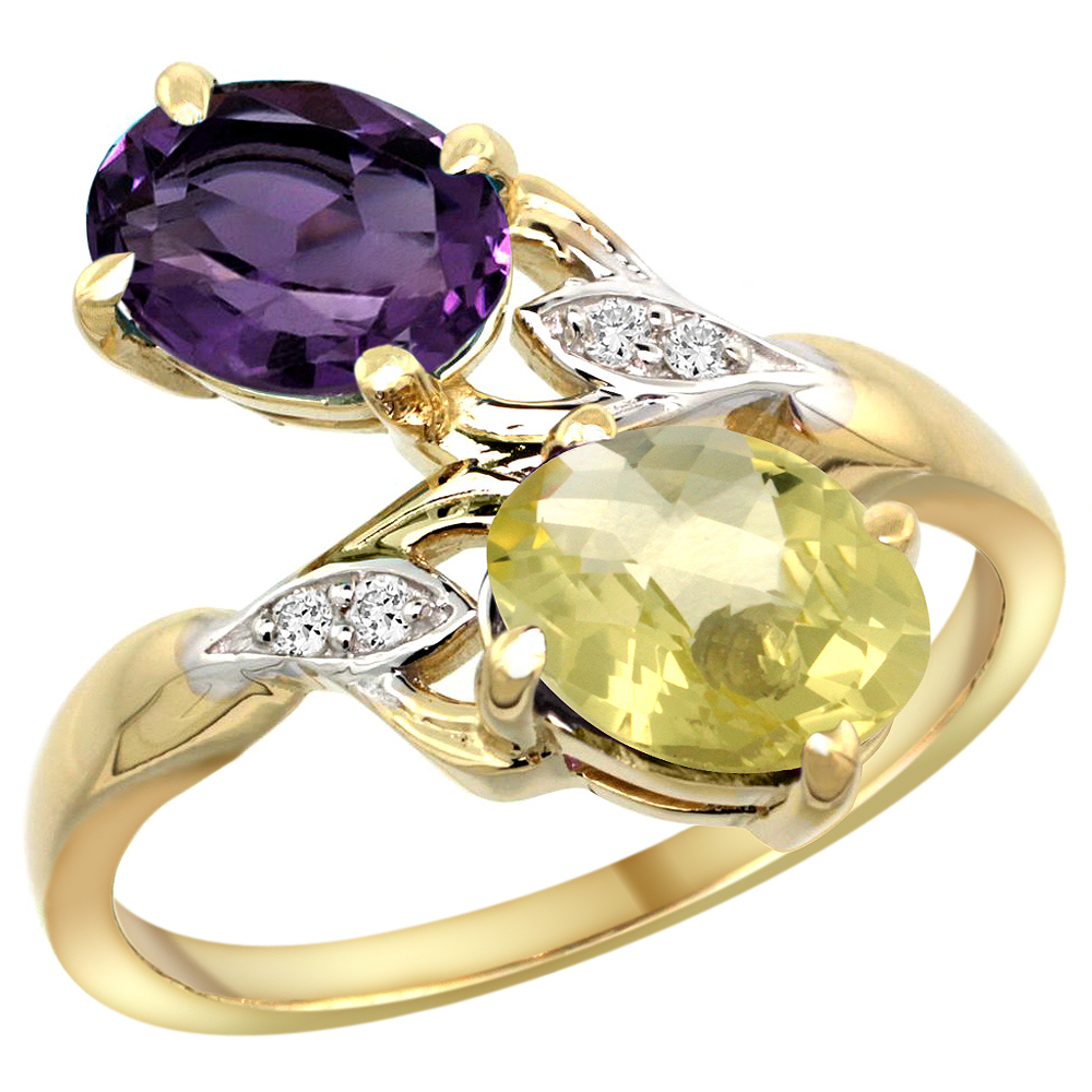 10K Yellow Gold Diamond Natural Amethyst & Lemon Quartz 2-stone Ring Oval 8x6mm, sizes 5 - 10
