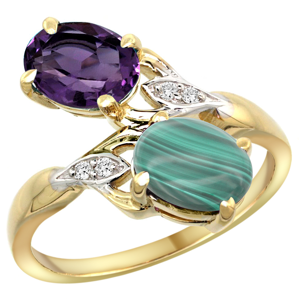 10K Yellow Gold Diamond Natural Amethyst & Malachite 2-stone Ring Oval 8x6mm, sizes 5 - 10