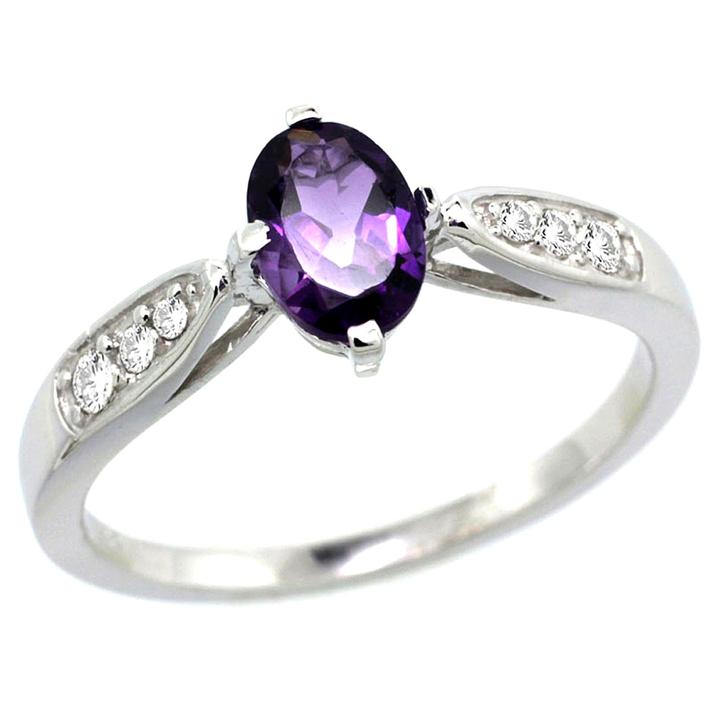 10K White Gold Diamond Natural Amethyst Engagement Ring Oval 7x5mm, sizes 5 - 10