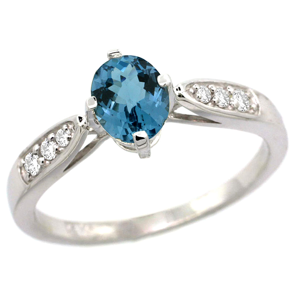 10K White Gold Diamond Natural London Blue Topaz Engagement Ring Oval 7x5mm, sizes 5 - 10