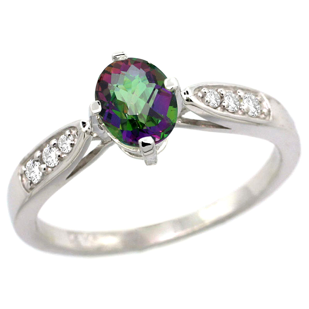 10K White Gold Diamond Natural Mystic Topaz Engagement Ring Oval 7x5mm, sizes 5 - 10
