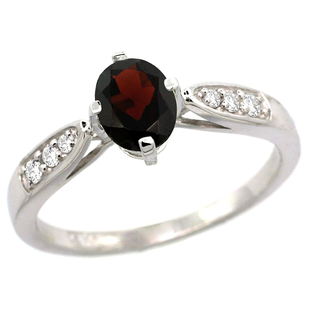 10K White Gold Diamond Natural Garnet Engagement Ring Oval 7x5mm, sizes 5 - 10