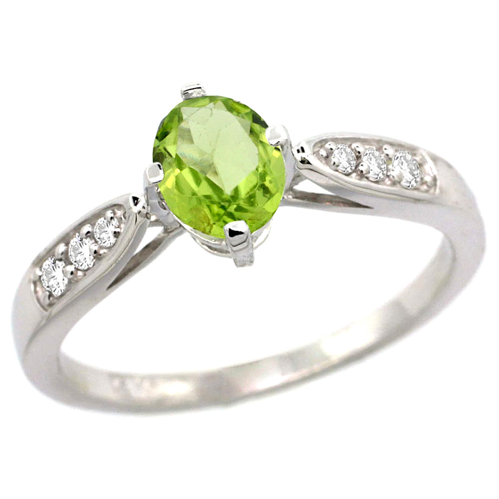 10K White Gold Diamond Natural Peridot Engagement Ring Oval 7x5mm, sizes 5 - 10