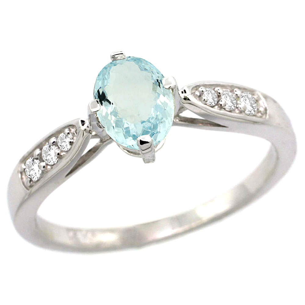 blue natural ring engagement gold white ori aquamarine rings details