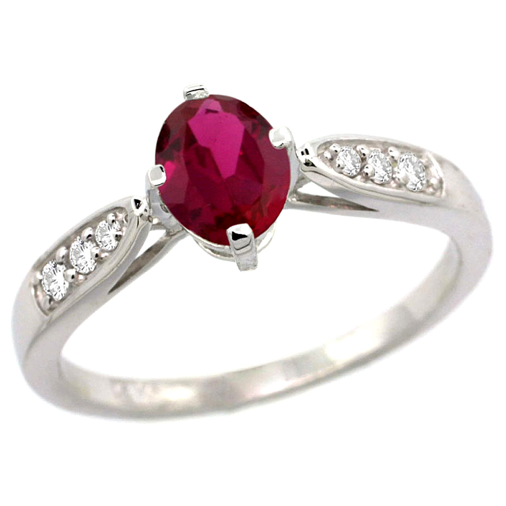 10K White Gold Diamond Natural Enhanced Genuine Ruby Engagement Ring Oval 7x5mm, sizes 5 - 10