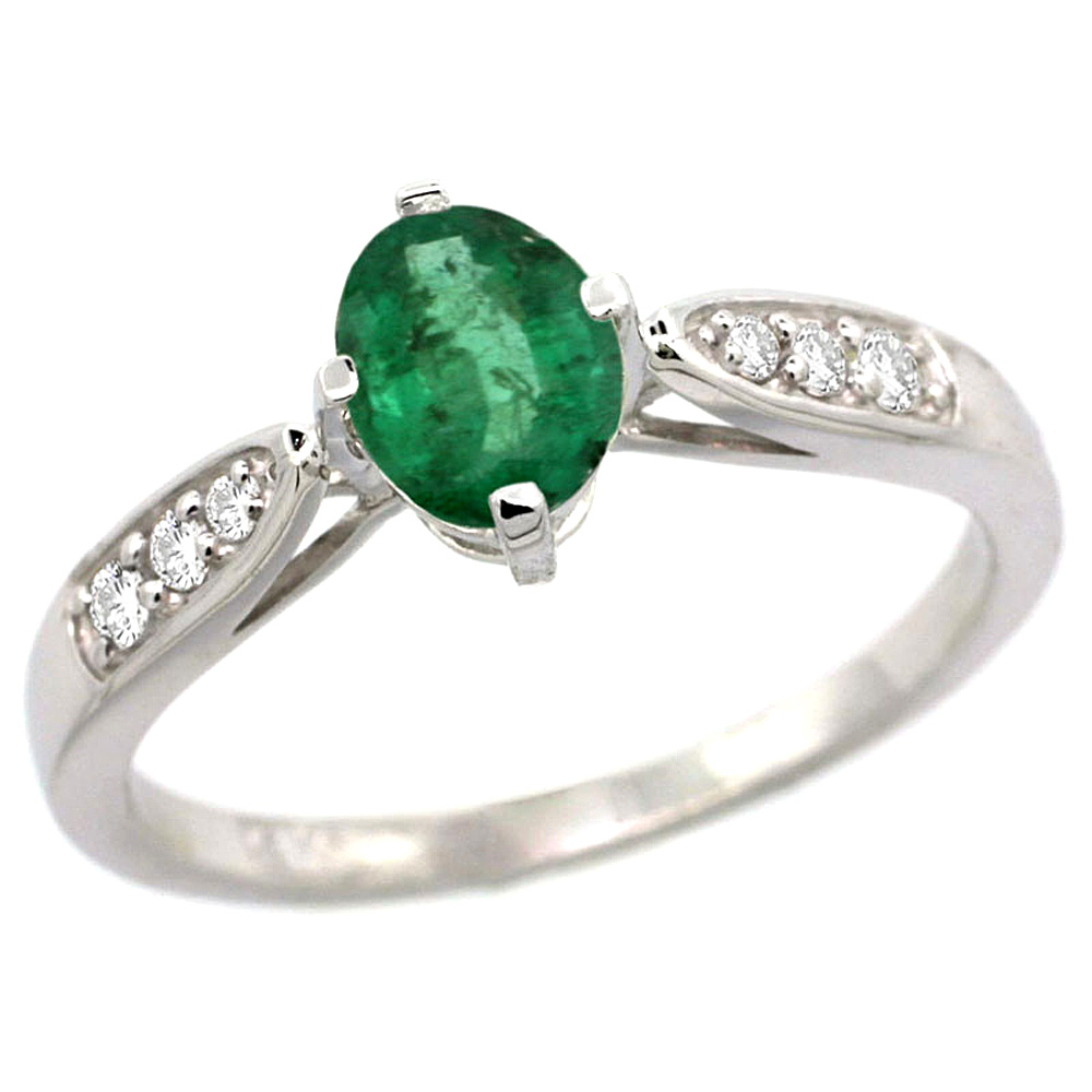 10K White Gold Diamond Natural High Quality Emerald Engagement Ring Oval 7x5mm, sizes 5 - 10