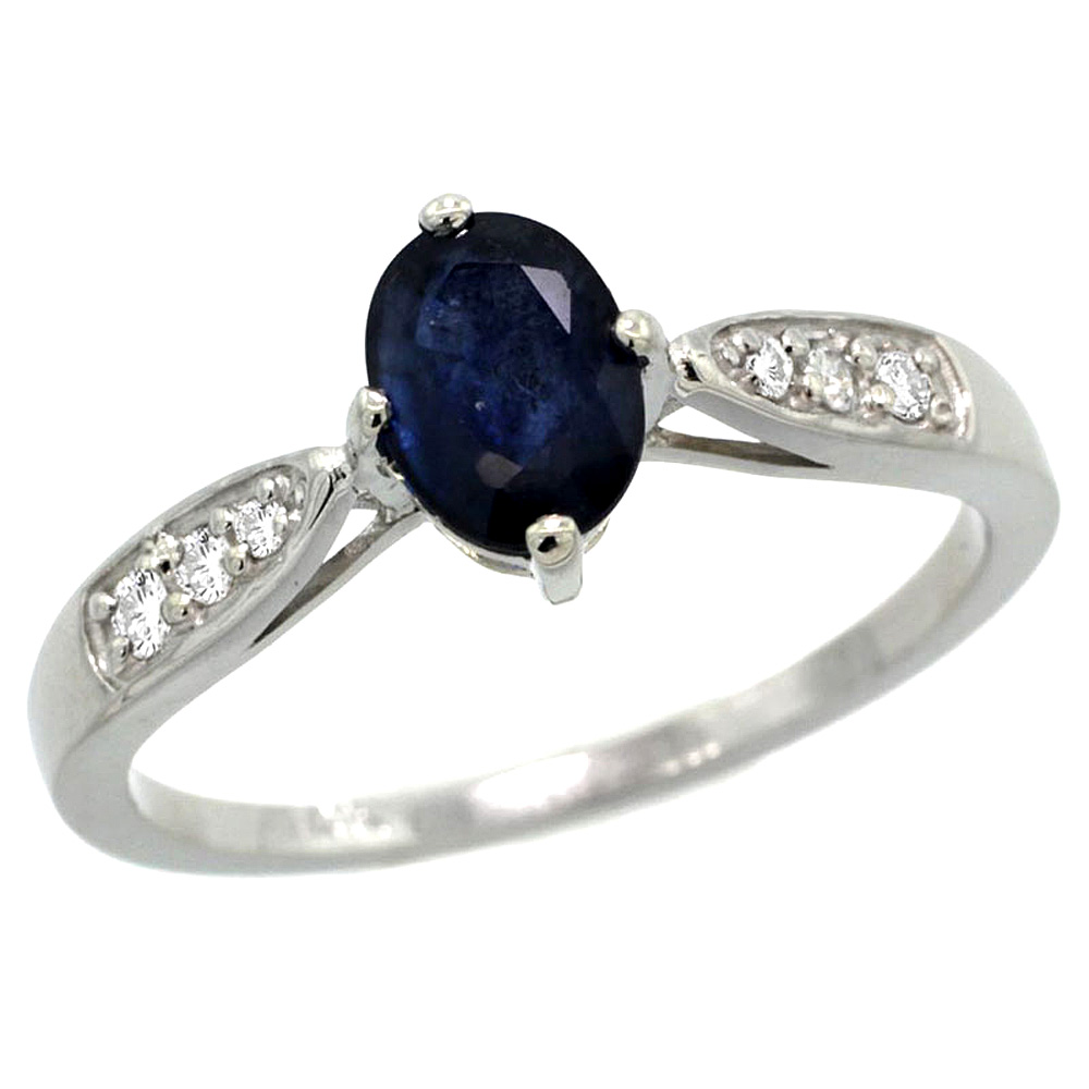 10K White Gold Diamond Natural Blue Sapphire Engagement Ring Oval 7x5mm, sizes 5 - 10