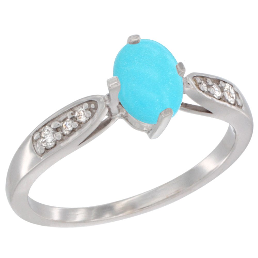 10K White Gold Diamond Natural Turquoise Engagement Ring Oval 7x5mm, sizes 5 - 10