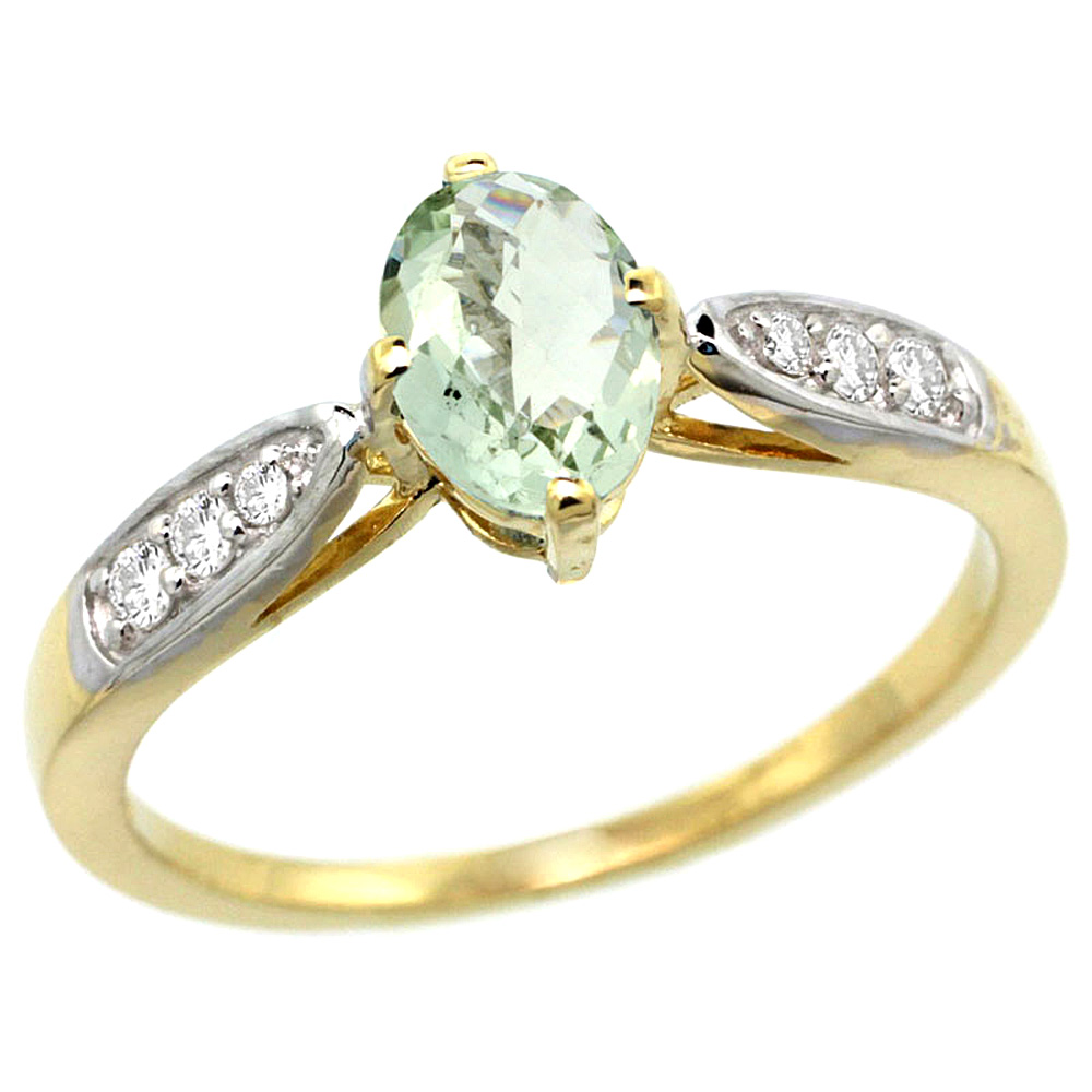 10K Yellow Gold Diamond Natural Green Amethyst Engagement Ring Oval 7x5mm, sizes 5 - 10