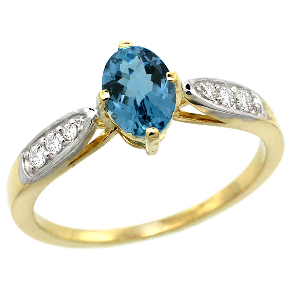 10K Yellow Gold Diamond Natural London Blue Topaz Engagement Ring Oval 7x5mm, sizes 5 - 10