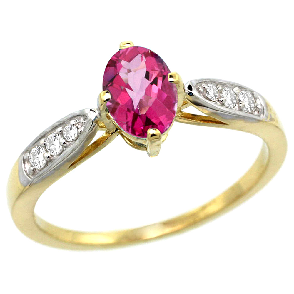 10K Yellow Gold Diamond Natural Pink Topaz Engagement Ring Oval 7x5mm, sizes 5 - 10