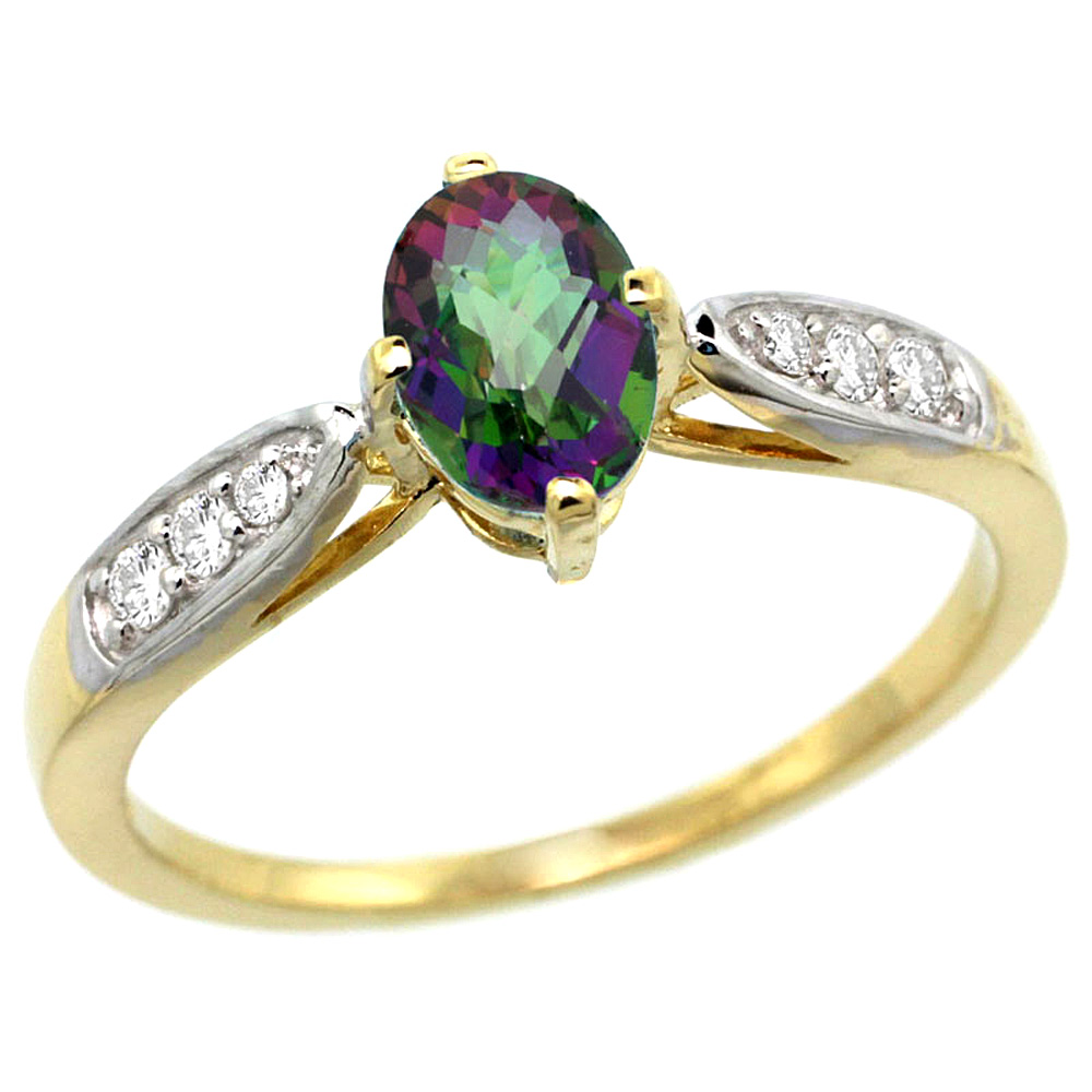 10K Yellow Gold Diamond Natural Mystic Topaz Engagement Ring Oval 7x5mm, sizes 5 - 10